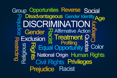 Discrimination Word Cloud on Blue Background Stock Photo