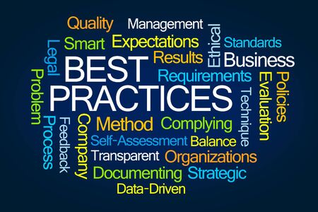 documenting: Best Practices Word Cloud on Blue Background