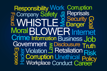 Whistle Blower Word Cloud on Blue Background Stock Photo