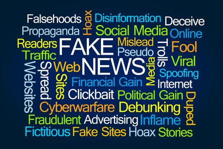 偽の青の背景にニュースの単語の雲 写真素材