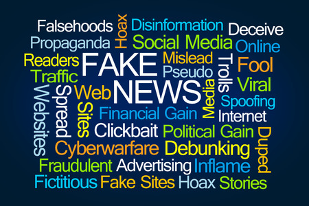 cyberwarfare: Fake News Word Cloud on Blue Background