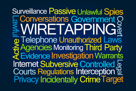 subversive: Wiretapping Word Cloud on Blue Background Stock Photo