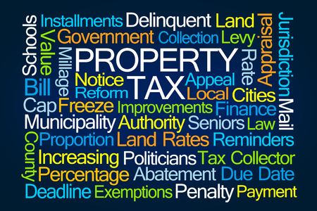 exemptions: Property Tax Word Cloud on Blue Background Stock Photo