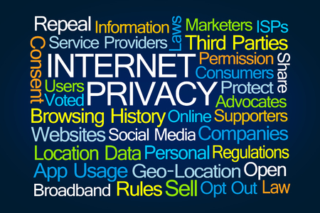 voted: Internet Privacy Word Cloud on Blue Background