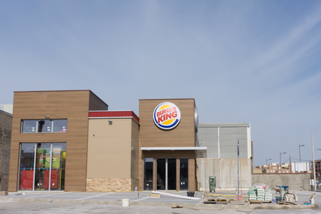 VALENCIA, SPAIN - APRIL 14, 2017: A Burger King fast food restaurant under construction. Burger King is an American global chain headquartered in Miami, Florida. The company was founded in 1953.