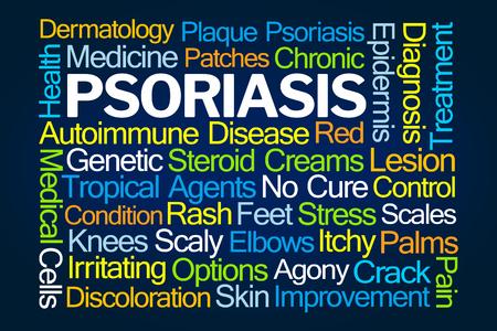 Psoriasis Word Cloud on Blue Background Reklamní fotografie