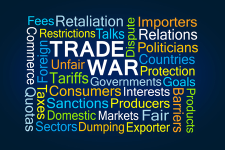 Trade War Word Cloud on Blue Background