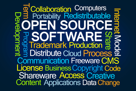 software portability: Open Source Software Word Cloud on Blue Background