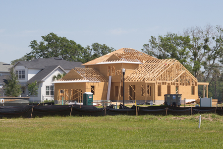 JACKSONVILLE FL - MAY 7, 2017: A new home under construction. According to the Northeast Florida Builders Association, a total of 941 permits were issued for new single-family homes in the four-county area. Editorial