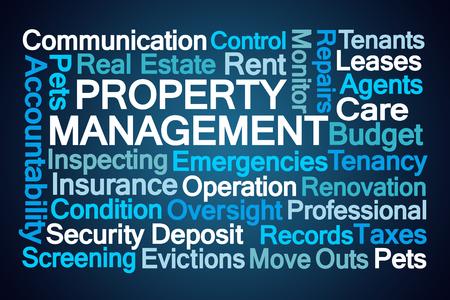 Property Management Word Cloud on Blue Background 版權商用圖片 - 81939962