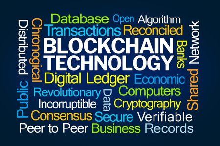 Blockchain Technology Word Cloud on Blue Background