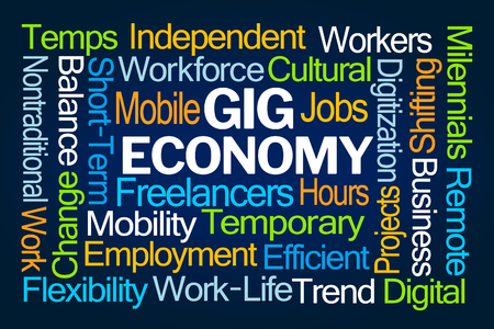 Gig Economy Word Cloud op blauwe achtergrond Stockfoto