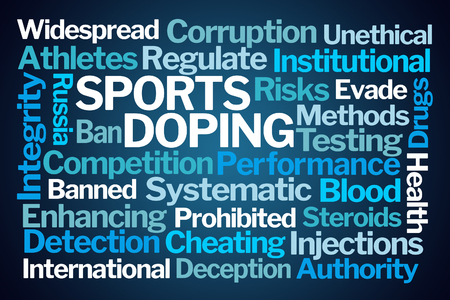 Sports Doping Word Cloud on Blue Background