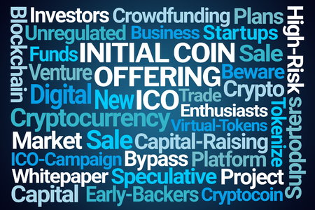 Initial Coin Offering Word Cloud on Blue Background Stock Photo