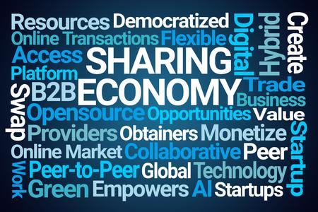 Sharing Economy Word Cloud on Blue Background Stock Photo