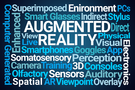 Augmented Reality Word Cloud on Blue Background Stock Photo