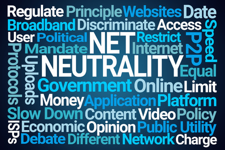Net Neutrality Word Cloud on Blue Background Stock Photo