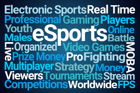 eSports Word Cloud on Blue Background Reklamní fotografie - 98013425