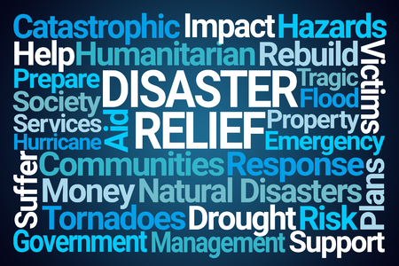 Disaster Relief Word Cloud on Blue Background