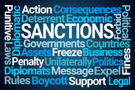 Sanctions Word Cloud on Blue Background