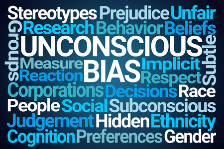 Unconscious Bias Word Cloud on Blue Background