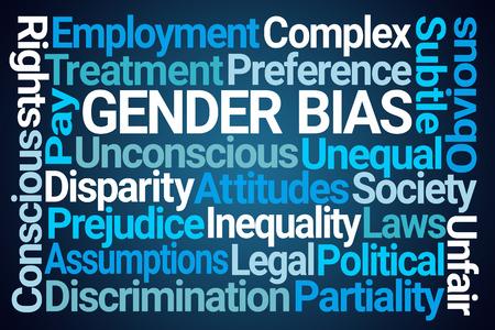 Gender Bias Word Cloud on Blue Background