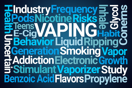 Vaping Word Cloud on Blue Background Imagens
