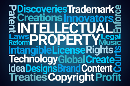 Intellectual Property Word Cloud on Blue Background Stok Fotoğraf