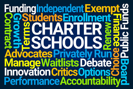 Charter Schools Word Cloud on Blue Background Stockfoto
