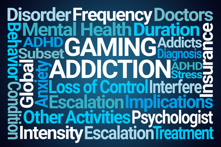 Gaming Addiction Word Cloud on Blue Background Stock Photo