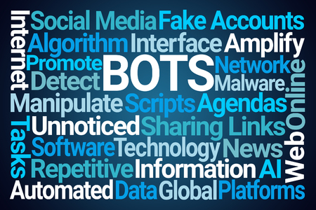 Bots Word Cloud on Blue Background Stock fotó