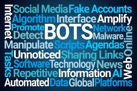 Bots Word Cloud on Blue Background Stock fotó - 104880690