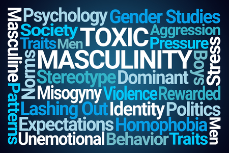 Toxic Masculinity Word Cloud on Blue Background