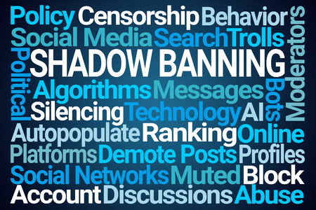 Shadow Banning Word Cloud on Blue Background Stock fotó