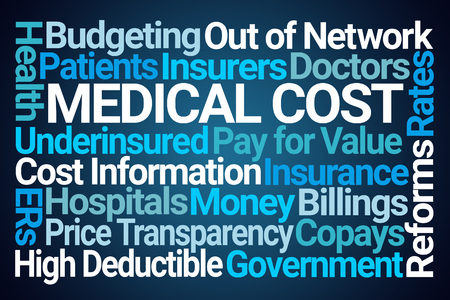 Medical Cost Word Cloud on Blue Background Stockfoto