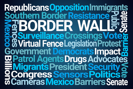 Border Wall Word Cloud on Blue Background