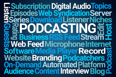 Podcasting Word Cloud on Blue Background 版權商用圖片