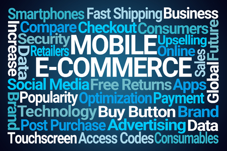 Mobile eCommerce Word Cloud on Blue Background