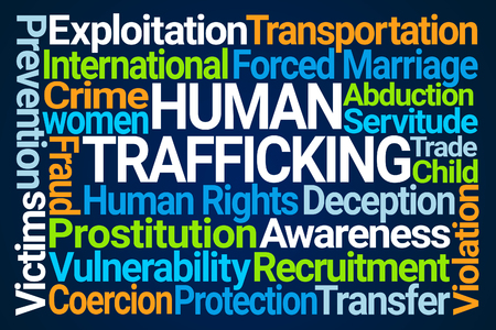 Human Trafficking Word Cloud on Blue Background
