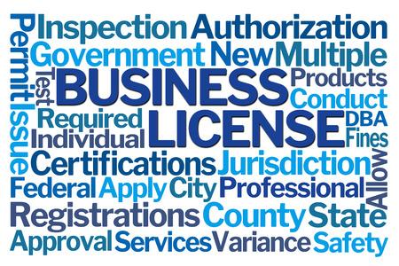 Business License Word Cloud on White Background Zdjęcie Seryjne