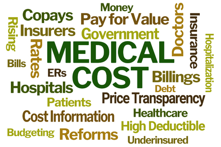 Medical Cost Word Cloud on White Background Reklamní fotografie