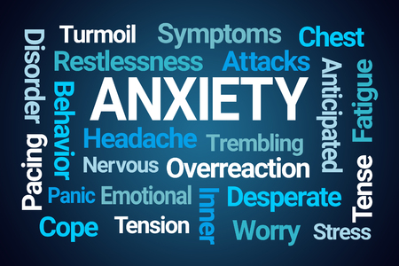 Anxiety Word Cloud on Blue Background 스톡 콘텐츠