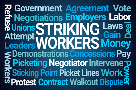 Striking Workers Word Cloud on Blue Background