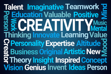 Creativity Word Cloud on Blue Background Banco de Imagens