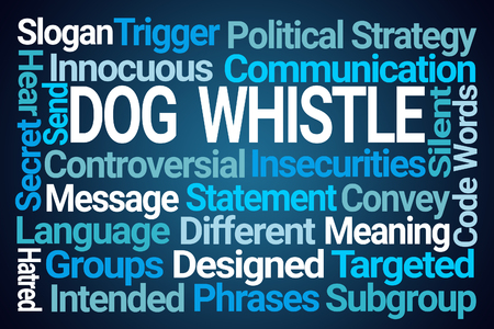 Dog Whistle Word Cloud on Blue Background Stock Photo