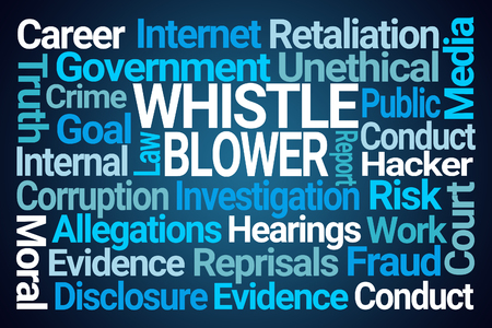 Whistle Blower Word Cloud on Blue Background 免版税图像