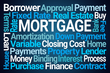 Mortgage Word Cloud on Blue Background
