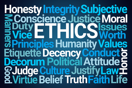 Ethics Word Cloud on Blue Background Stock fotó - 119612581