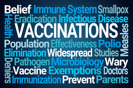 Vaccinations Word Cloud on Blue Background Stock Photo