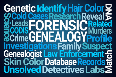 Forensic Genealogy Word Cloud on Blue Background